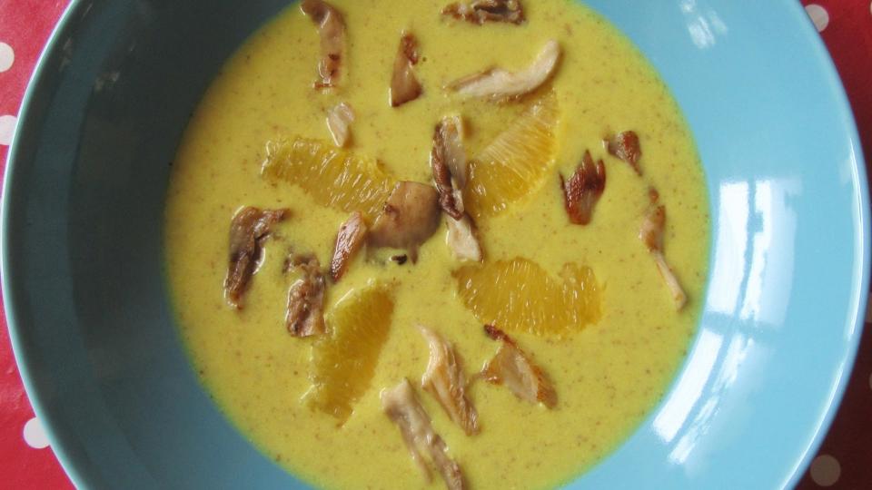 Sinaasappel mosterdsoep met oesterzwammen
